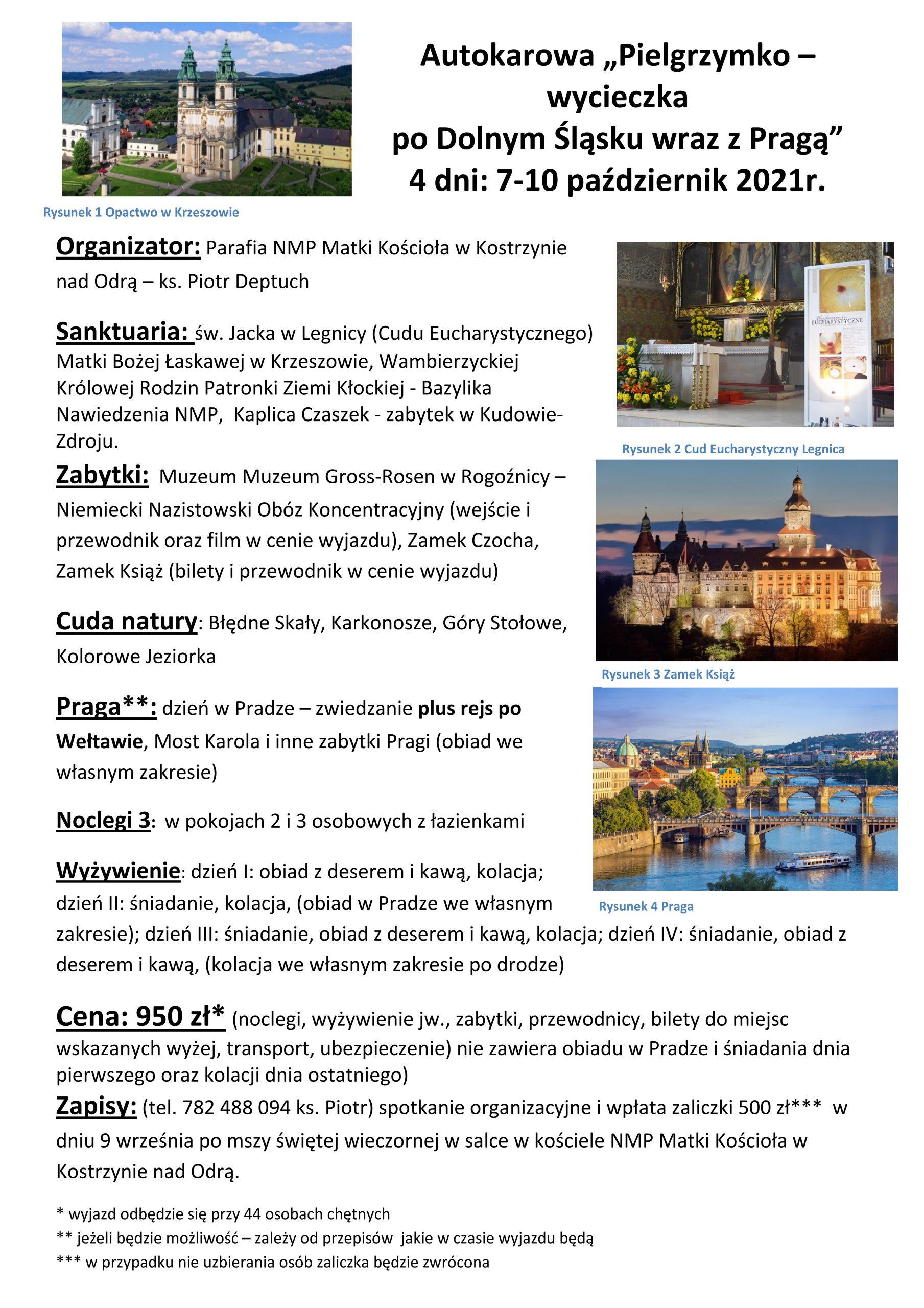 Pielgrzymka po Dolnym Śląsku 7-10 października 2021